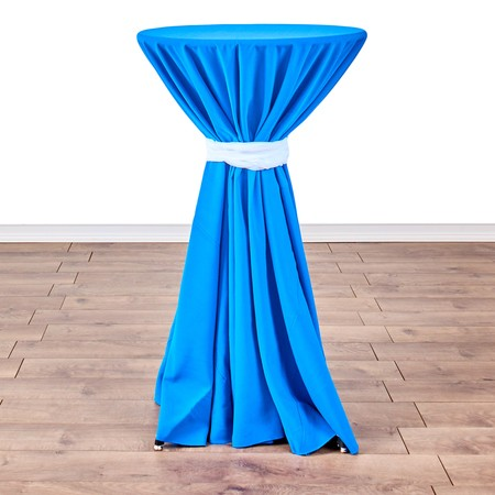 "Satin White  120"" round with 24"" round (42"" H) Tables"