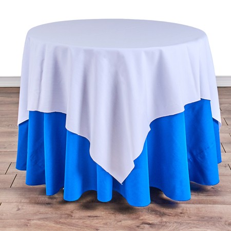 "Poly White Satin Stripe Square 54"" with 36"" round (30""H) Tables"