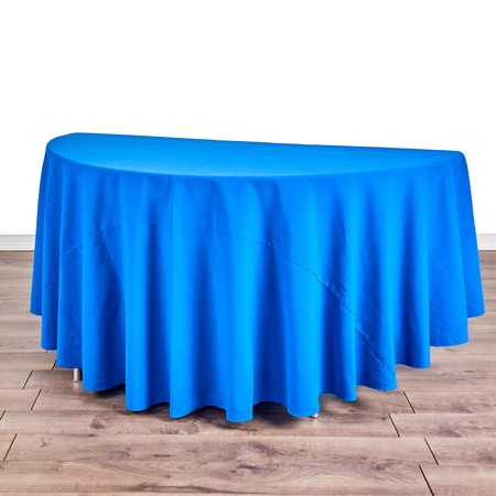 "Iridescent Crush Royal Blue 108"" Round with 60"" half round Tables"