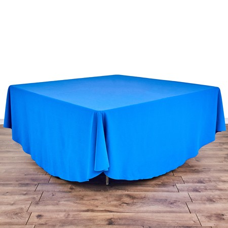 "Round Iridescent Crush Champagne 120"" with 60"" square Tables"
