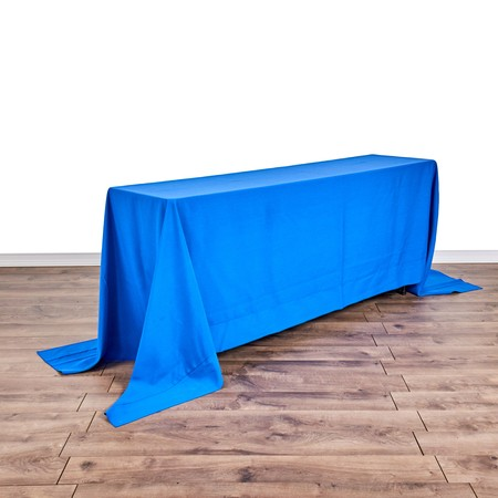 "Poly Navy Blue Satin Stripe 72"" x 120"" with 6' x 18"" Tables"