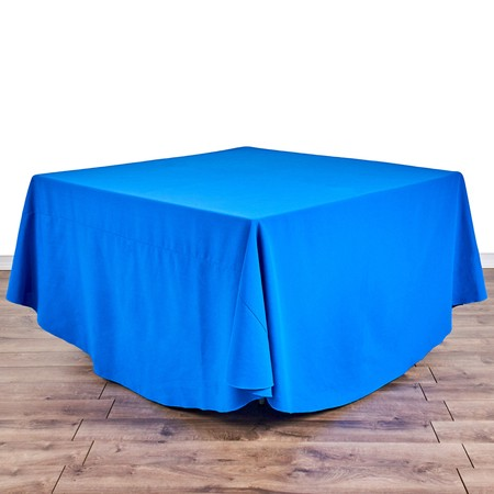 "Polyester Red 108"" Round with 48"" square Tables"