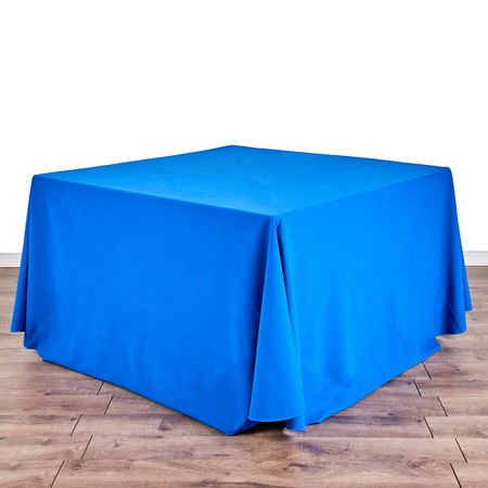 "Poly Navy Blue 120"" Round with 48"" square Tables"