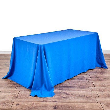 "Poly Royal Blue 90"" x 132"" Linen with 5' x 30"" Tables"