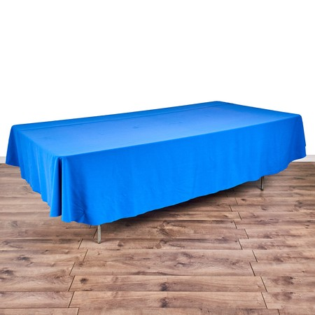 "Poly Royal Blue & White Check 90"" x 132"" with 8' x 48"" Tables"