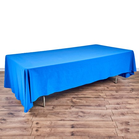 "Poly Royal Blue & White Check 90"" x 156"" with 8' x 48"" Tables"