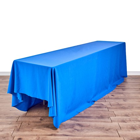 "Poly Royal Blue 90"" x 132"" Linen with 8' x 24"" Tables"