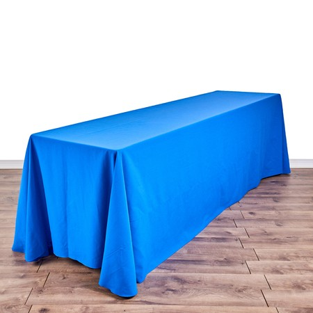 "Poly Royal Blue & White Check 90"" x 156"" with 8' x 24"" Tables"