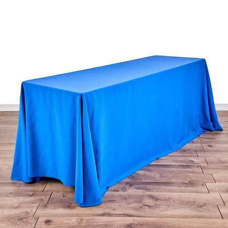 "Poly Satin 90"" x 132"" Stripe Navy Blue with 6' x 24"" Tables"
