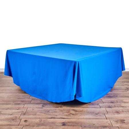 "Lamour Light Blue 132"" Round with 66"" square Tables"
