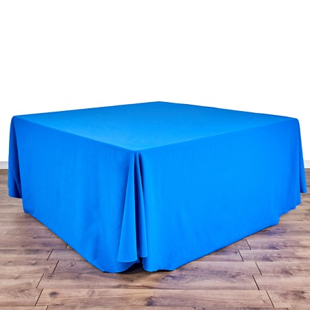 "Shantung Infinity Slate Blue 132"" Round with 60"" square Tables"