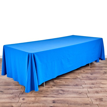 "Bengaline Grotto Blue 90""x156"" drape with 8' x 40"" Tables"