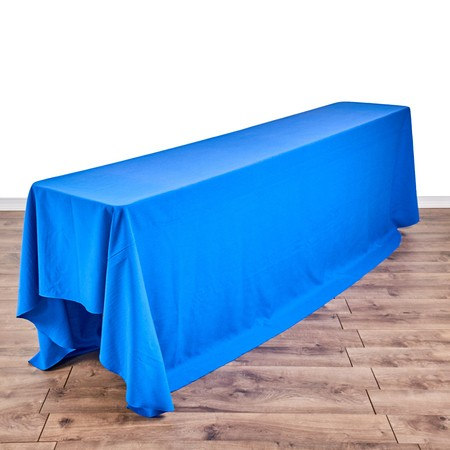 "Poly Royal Blue 90"" x 132"" Linen with 8' x 18"" Tables"