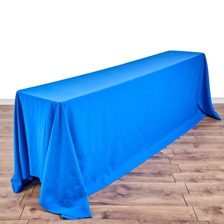 "Bengaline Grotto Blue 90""x156"" drape with 8' x 18"" Tables"