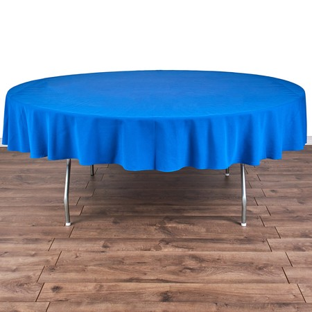 "Poly Navy Blue Satin Stripe Round 90"" with 72"" round Tables"