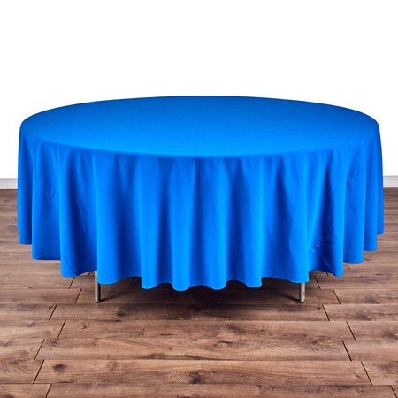 "Polyester Peacock 108"" Round with 66"" round Tables"